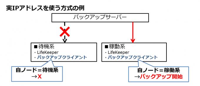 クラスターノードの実IPアドレスを使用してバックアップを実行する場合