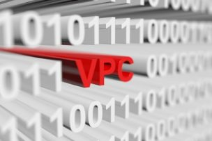 VPC in a binary code with blurred background 3D illustration